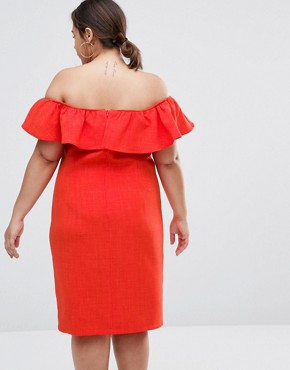 photo Bardot Dress with Ruffle Detail by Live in Love Plus, color Orange - Image 2