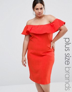 photo Bardot Dress with Ruffle Detail by Live in Love Plus, color Orange - Image 1