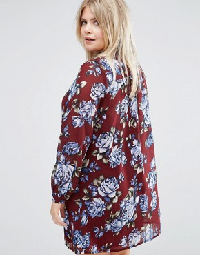 photo Shirt Dress In Floral Print by Live in Love Plus, color Wine - Image 2