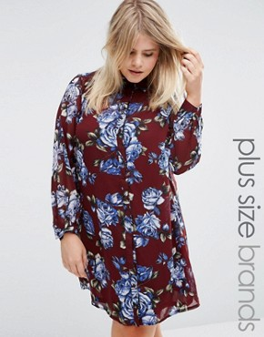 photo Shirt Dress In Floral Print by Live in Love Plus, color Wine - Image 1