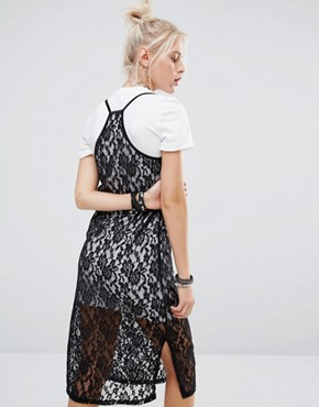 photo Lace Cami Over T-Shirt Dress by The Ragged Priest, color  - Image 2