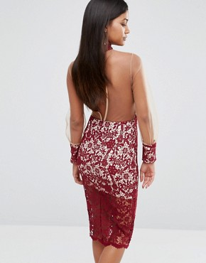 photo Longsleeve Midi Dress in Lace by Love Triangle, color Wine - Image 2