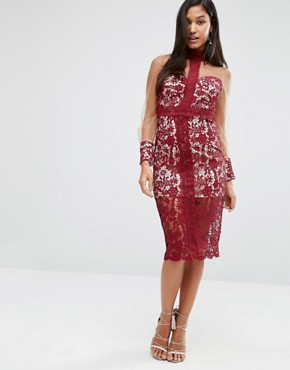 photo Longsleeve Midi Dress in Lace by Love Triangle, color Wine - Image 4
