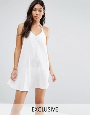 photo Strappy Back Beach Dress by Wolf & Whistle, color White - Image 1