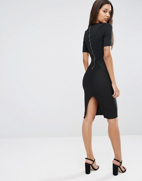 photo Seamed Structured Rib Bodycon Dress by ASOS, color Black - Image 2