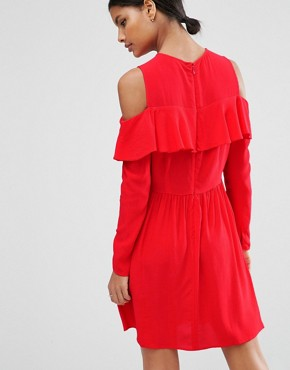 photo Mini Cold Shoulder Dress with Ruffle Detail by ASOS, color Red - Image 2