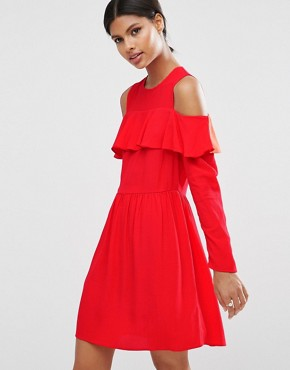 photo Mini Cold Shoulder Dress with Ruffle Detail by ASOS, color Red - Image 1