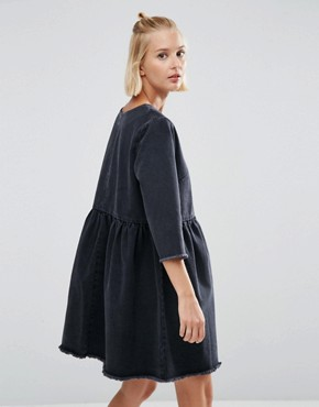 photo Denim Smock Dress with Raw Hem in Washed Black by ASOS, color Washed Black - Image 2