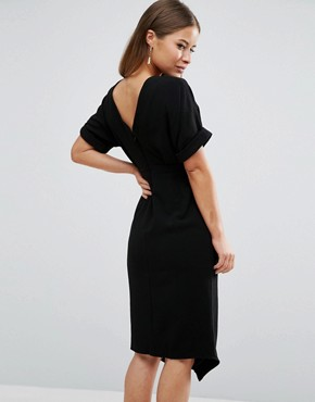 photo Smart Woven Dress with V Back and Split Front by ASOS PETITE, color Black - Image 2