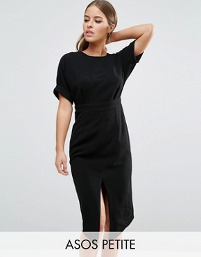 photo Smart Woven Dress with V Back and Split Front by ASOS PETITE, color Black - Image 1