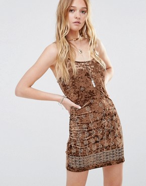 photo Embroidered Velvet Cami Dress by ebonie n ivory, color Brown - Image 1