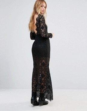 photo Low Back Lace Maxi Dress by ebonie n ivory, color Black - Image 1