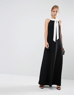 photo Hilarny Maxi Column Dress with Bow Front by Ted Baker, color Black - Image 1