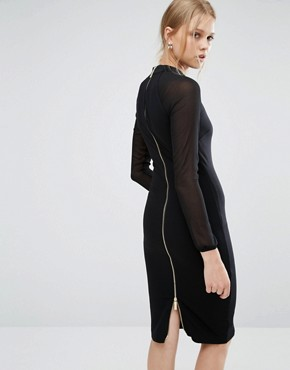 photo Wrenti Fitted Long Sleeve Rib Dress by Ted Baker, color Black - Image 2