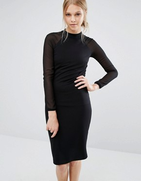 photo Wrenti Fitted Long Sleeve Rib Dress by Ted Baker, color Black - Image 1