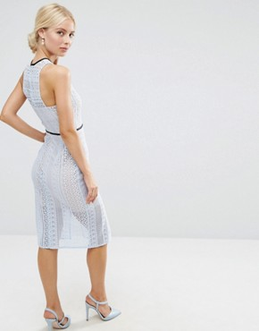 photo Pencil Dress in Lace with Tipping by ASOS, color Pale Blue - Image 2
