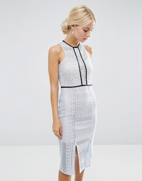 photo Pencil Dress in Lace with Tipping by ASOS, color Pale Blue - Image 1