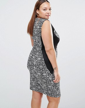 photo V Neck Pencil Dress with Contrast Waistband by Praslin Plus, color Black/White - Image 2