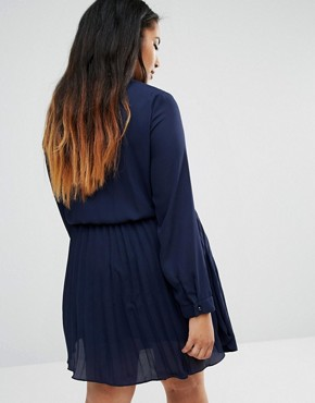 photo Skater Dress with Pleated Skirt by Praslin Plus, color Navy - Image 2