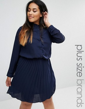 photo Skater Dress with Pleated Skirt by Praslin Plus, color Navy - Image 1