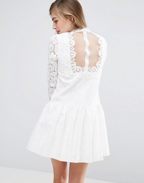 photo Lace Applique Dropwaist Mini Dress by ASOS PREMIUM, color White - Image 2