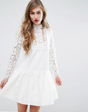 photo Lace Applique Dropwaist Mini Dress by ASOS PREMIUM, color White - Image 1