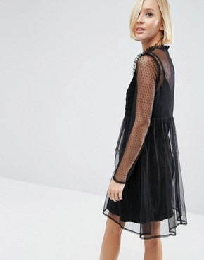 photo Dobby Mesh Embroidered Smock Dress by ASOS, color Black - Image 2