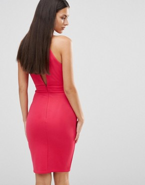 photo Key Hole Cut Out Midi Dress by City Goddess, color Red - Image 2