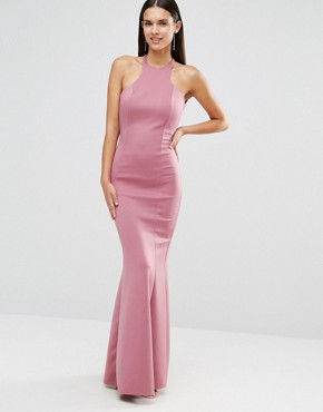 photo Maxi Dress With Bow Detail And Exposed Back by City Goddess, color Dusky Pink - Image 2