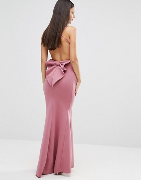 photo Maxi Dress With Bow Detail And Exposed Back by City Goddess, color Dusky Pink - Image 1