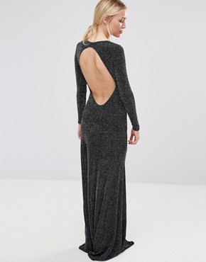 photo Backless Long Sleeved Maxi Dress In Lurex Fabric by City Goddess, color Black - Image 2