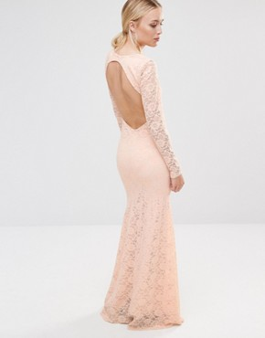 photo Long Sleeve Open Back Lace Maxi Dress by City Goddess, color Pale Pink - Image 2