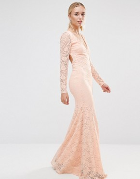 photo Long Sleeve Open Back Lace Maxi Dress by City Goddess, color Pale Pink - Image 1