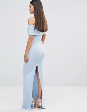 photo Bandeau Maxi Dress With Split Detail by City Goddess, color Baby Blue - Image 2