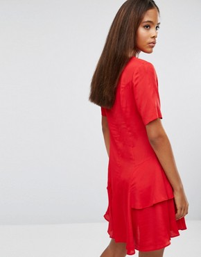 photo Tea Dress with Rouleau Buttons and Layered Skirt by ASOS TALL, color Red - Image 2