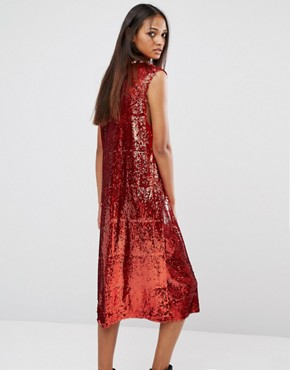 photo Oversized Sequin Varsity Midi Vest Dress by Liquor & Poker Tall, color Red Sequin - Image 2