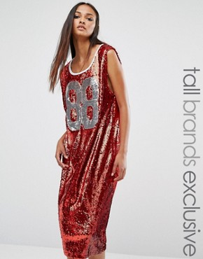 photo Oversized Sequin Varsity Midi Vest Dress by Liquor & Poker Tall, color Red Sequin - Image 1
