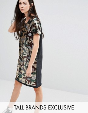 photo Sequin Oversized Dress In Camo Print by Liquor & Poker Tall, color Camo - Image 1