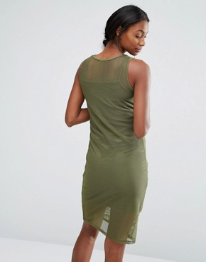 photo Lounge Bodycon Mesh Dress by Bluebelle Maternity, color Khaki - Image 2