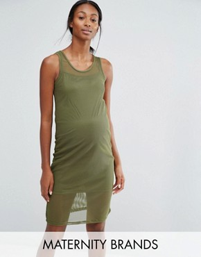 photo Lounge Bodycon Mesh Dress by Bluebelle Maternity, color Khaki - Image 1