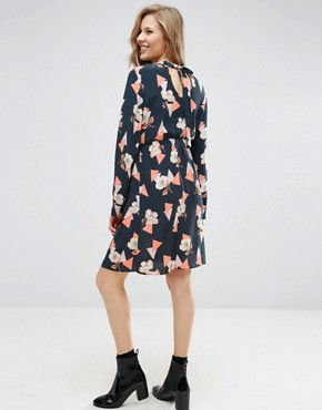 photo High Neck A line Dress in Geo Floral Print by ASOS Maternity, color Black Base Geo - Image 2