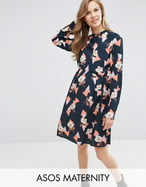 photo High Neck A line Dress in Geo Floral Print by ASOS Maternity, color Black Base Geo - Image 1