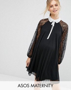 photo Mini Swing Dress with Embellished Neck by ASOS Maternity, color Black - Image 1