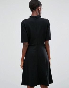 photo High Neck Dress with Lace Front by b.Young, color Black - Image 2