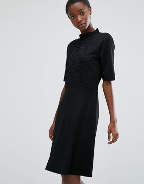 photo High Neck Dress with Lace Front by b.Young, color Black - Image 1