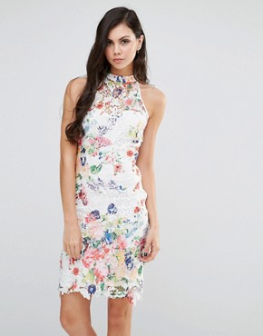 photo High Neck Floral Lace Dress by Lipstick Boutique, color  - Image 1
