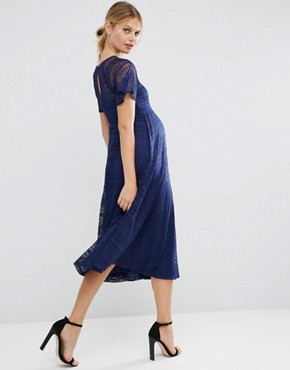 photo Midi Lace Dress with Flutter Sleeve by ASOS Maternity, color Navy - Image 2