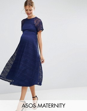 photo Midi Lace Dress with Flutter Sleeve by ASOS Maternity, color Navy - Image 1