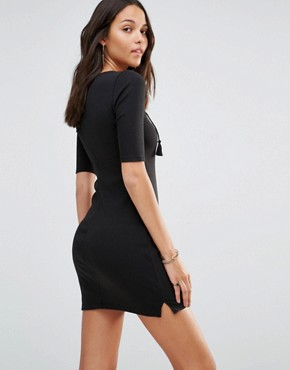 photo Lace-Up Bodycon Dress by Hollister, color Black - Image 2