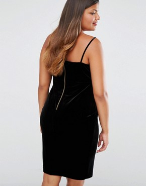 photo Velvet Strappy Bodycon Dress by New Look Plus, color Black - Image 2